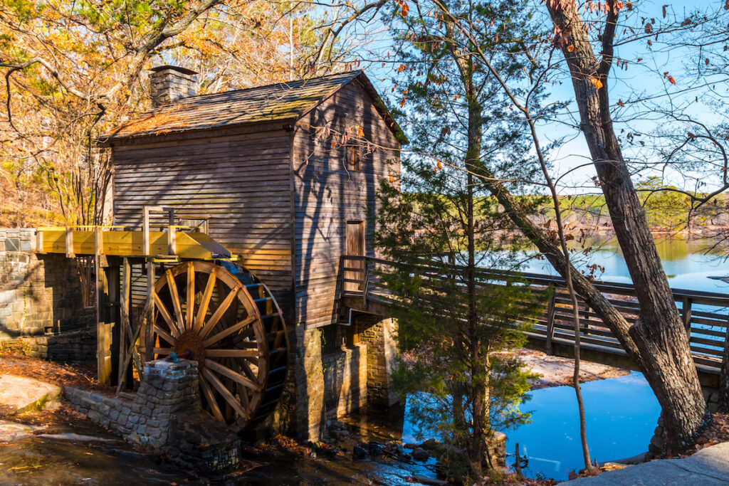 wooden grist mill Stone Mountain Park GA