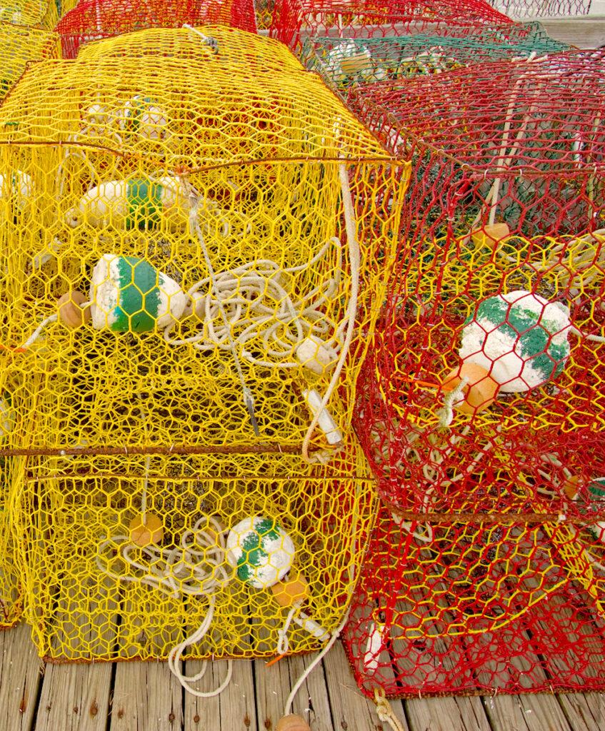 Crab pots on a dock in North Carolina