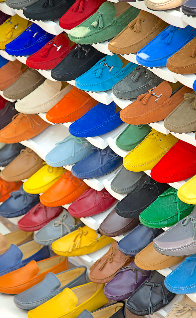 Colorful Shoes on a rack