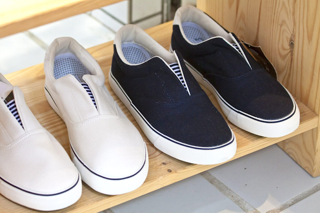 Shoes on a shoe rack