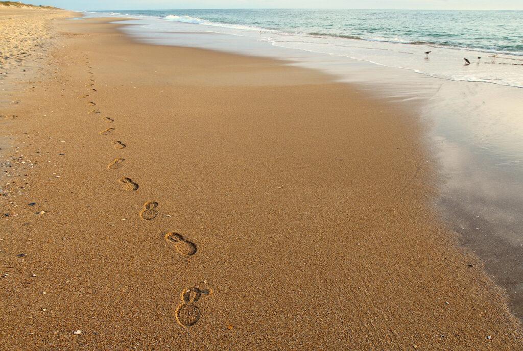 Cape Hatteras Beach footprints in sand