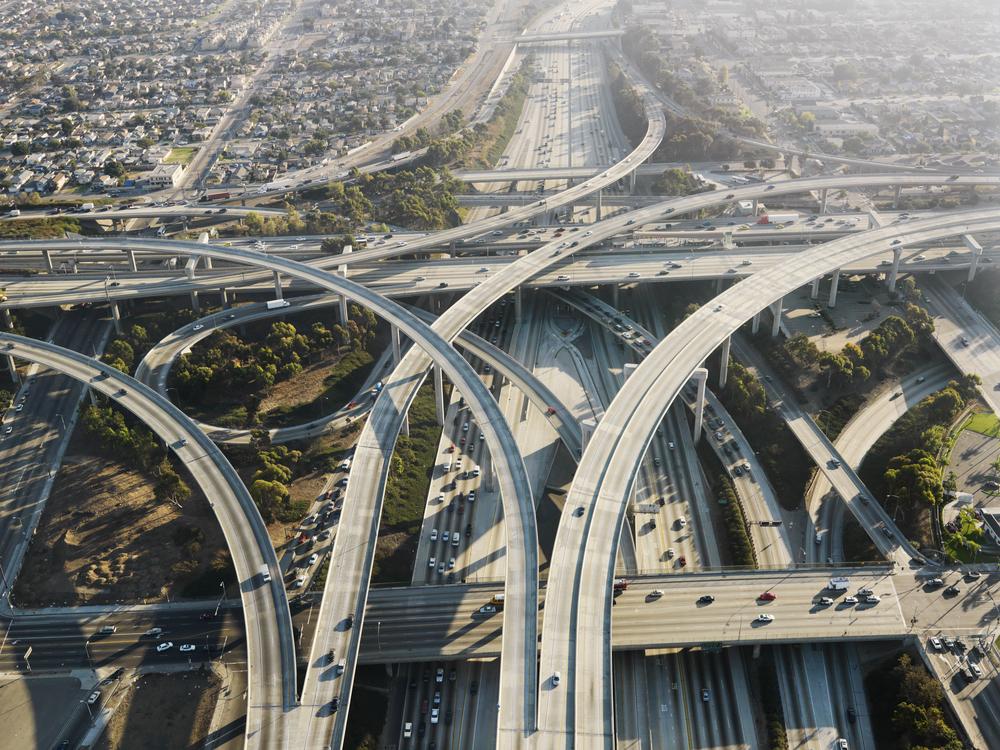 Highway interchange aerial image