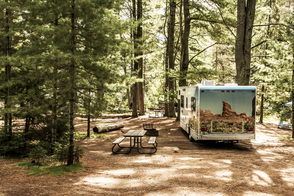 RV in forest campground site