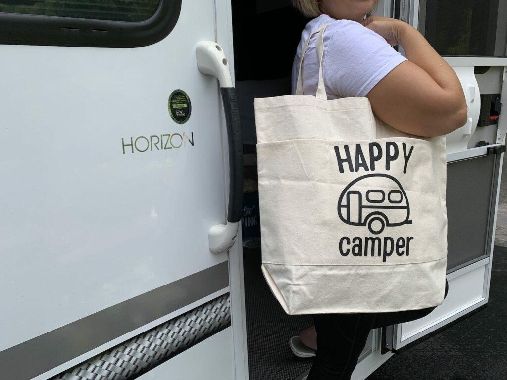 diy happy camper tote bag