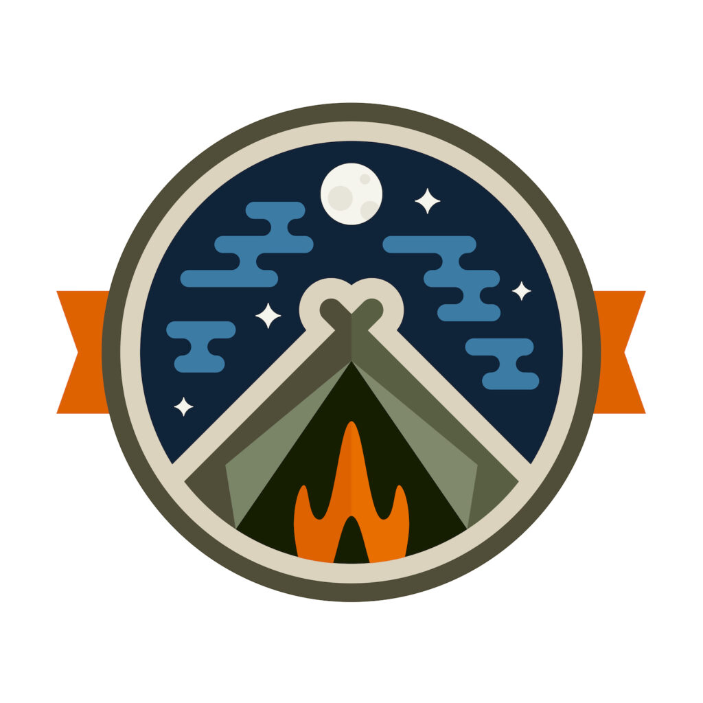 teepee tent camping badge