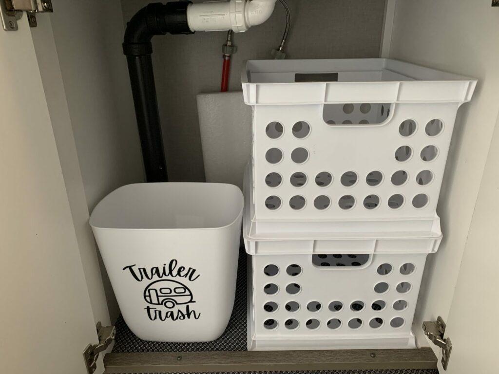 trash can stored underneath RV sink