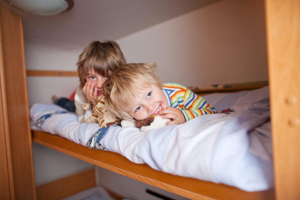 kids in an RV bunk bed
